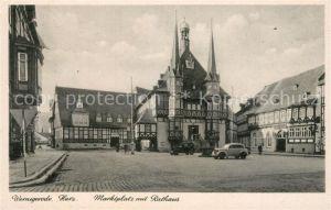 AK / Ansichtskarte Wernigerode_Harz Marktplatz mit Rathaus Wernigerode Harz