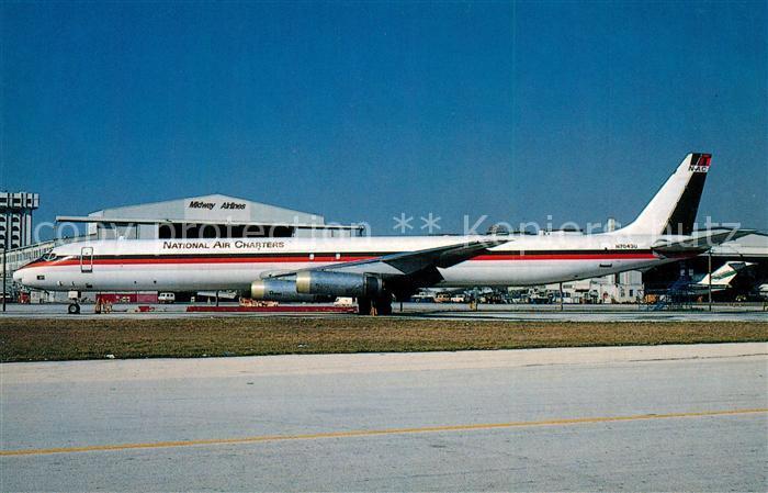 AK / Ansichtskarte Flugzeuge_Zivil National Air Charters DC 8 63F c n 46042 N7043U Flugzeuge Zivil