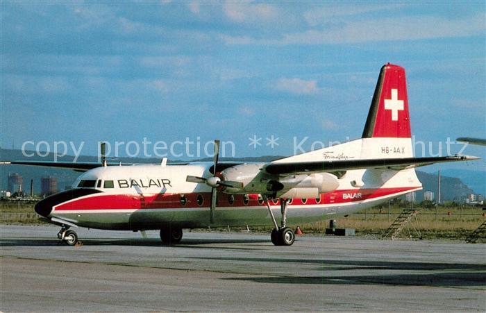 AK / Ansichtskarte Flugzeuge_Zivil Balair Fokker F27 Friendship 400 HB AAX c n 10351  Flugzeuge Zivil