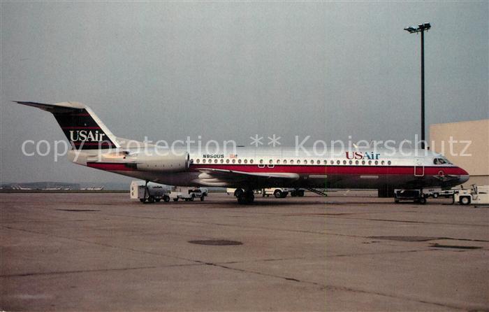 AK / Ansichtskarte Flugzeuge_Zivil USAir Fokker 100 N850US Flugzeuge Zivil