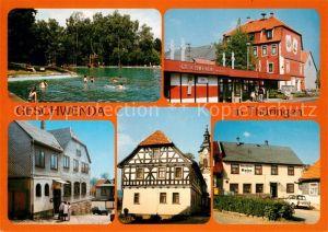 AK / Ansichtskarte Geschwenda Waldbad Rathaus Restaurant Roter Hirsch Kirche Gasthaus zum Rasen Geschwenda