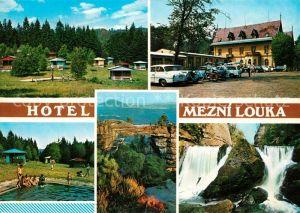 AK / Ansichtskarte Hrensko Hotel Mezni Louka Wasserfall  Hrensko