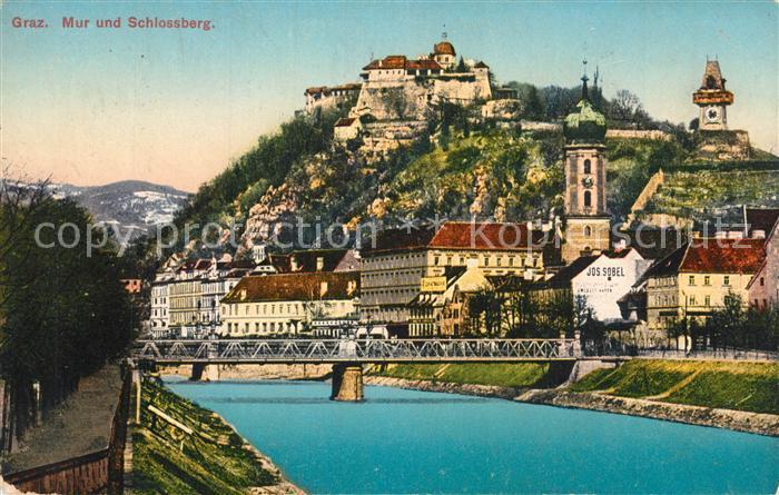 AK / Ansichtskarte Graz_Steiermark Mur mit Schlossberg Graz_Steiermark