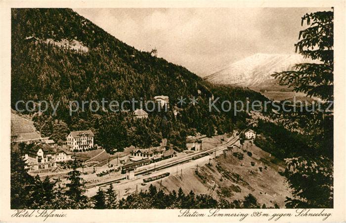 AK / Ansichtskarte Semmering_Niederoesterreich Hotel Stefanie mit Schneeberg Semmering