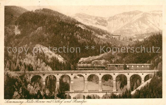 AK / Ansichtskarte Semmering_Niederoesterreich Kalt Rinne mit Orthof und Raxalpe Semmering