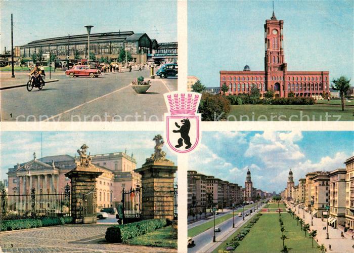 AK / Ansichtskarte Berlin Bahnhof Friedrichstrasse Rathaus Deutsche Staatsoper Stalinallee Berlin