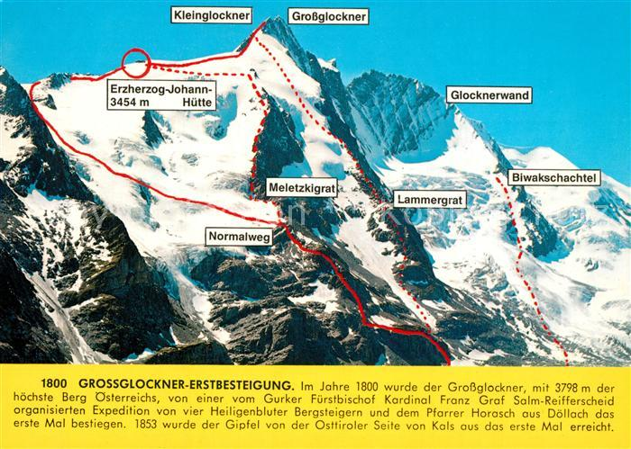 Großglockner Karte.Ak Ansichtskarte Grossglockner Touren Und Routen Karte Fuer Bergsteiger Grossglockner