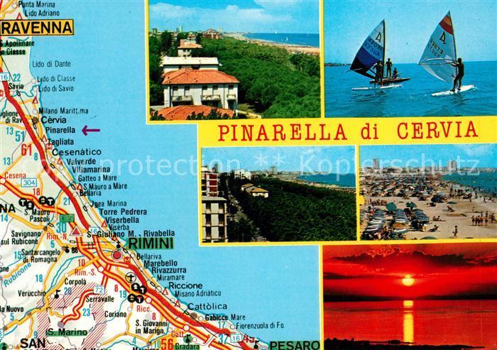 AK / Ansichtskarte Cervia Pinarella Strassenkarte  Cervia