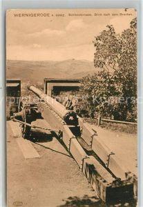 AK / Ansichtskarte Wernigerode_Harz Schlossterrasse Kanone Blick nach dem Brocken Wernigerode Harz