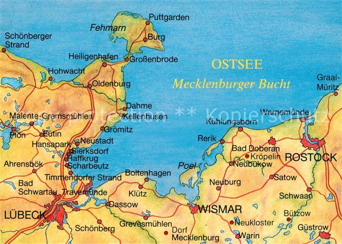Fehmarn Karte Ostsee.Ak Ansichtskarte Puttgarden Landkarte Ostsee Mecklenburger Bucht Puttgarden