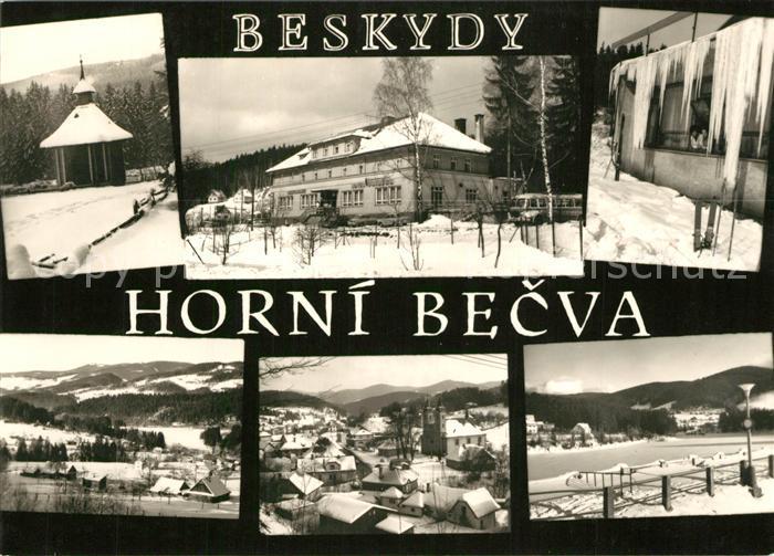 AK / Ansichtskarte Horni_Becva Moravskoslezske Beskydy Zvonicka na Hlavete Hotel Stred obce Cast rekreacniho Winterpanorama Beskiden Horni Becva