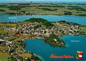 AK / Ansichtskarte Mattsee_Salzburg Obertrumer See Niedertrumer See Fliegeraufnahme Mattsee Salzburg
