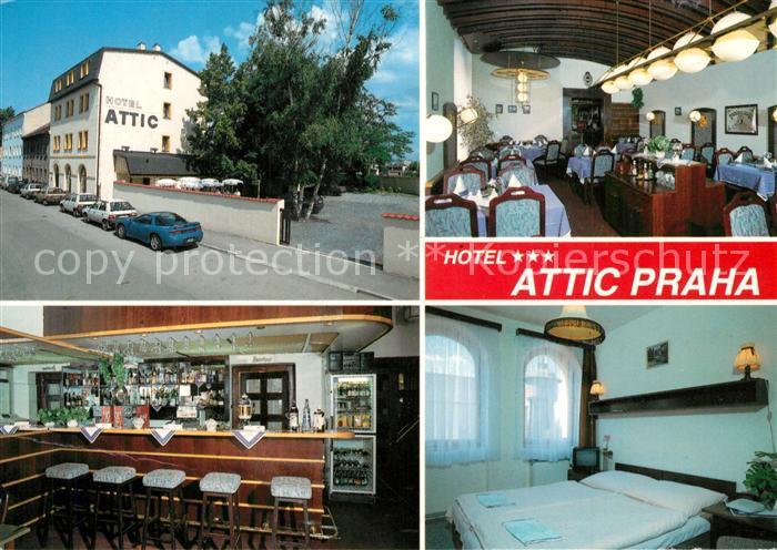 AK / Ansichtskarte Prag_Prahy_Prague Hotel Attic Restaurant Fremdenzimmer Prag_Prahy_Prague