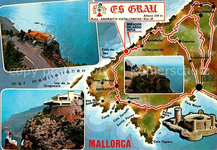 AK / Ansichtskarte Estellencs_Mallorca Es Grau Restaurant Bar Mirador Ricardo Roca Landkarte Estellencs_Mallorca