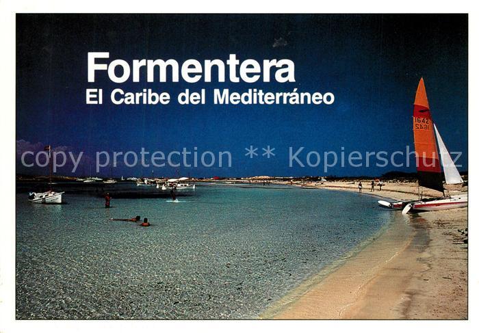 AK / Ansichtskarte Formentera Stradn Segelboot Formentera