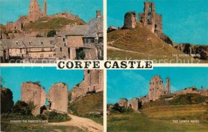 AK / Ansichtskarte Corfe_Dorset Corfe Castle Ruines Edward the Martyrs Gate part of the village Corfe Dorset