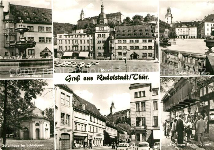 AK / Ansichtskarte Rudolstadt Brunnen Markt Schloss Heidecksburg Schallhaus Schlosspark Bauernhaeuser Rudolstadt