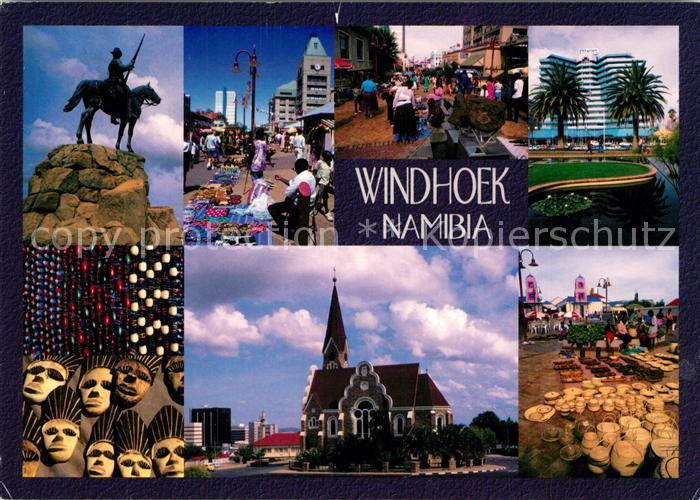AK / Ansichtskarte Windhoek Denkmal Markt Innenstadt Palmen Hotel Kirche Masken Windhoek