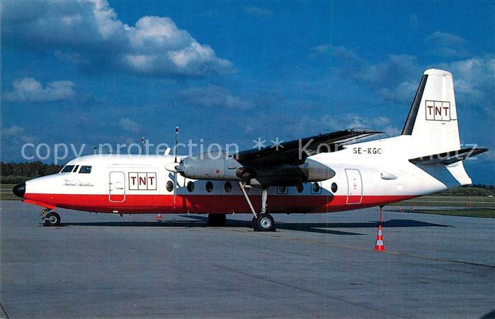 AK / Ansichtskarte Flugzeuge_Zivil TNT Malmoe Aviaton Fokker 27 600 SE KGC c n 10317 Flugzeuge Zivil