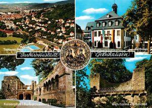 AK / Ansichtskarte Gelnhausen Rathaus Wehrtuerme Halbmond Kaiserpfalz Barbarossaburg Fliegeraufnahme Gelnhausen