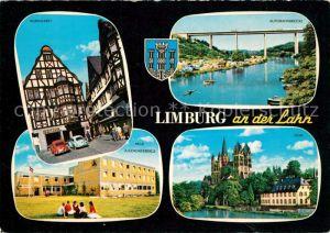 AK / Ansichtskarte Limburg_Lahn Kornmarkt Altstadt Fachwerkhaeuser Autobahnbruecke Jugendherberge Dom Limburg_Lahn