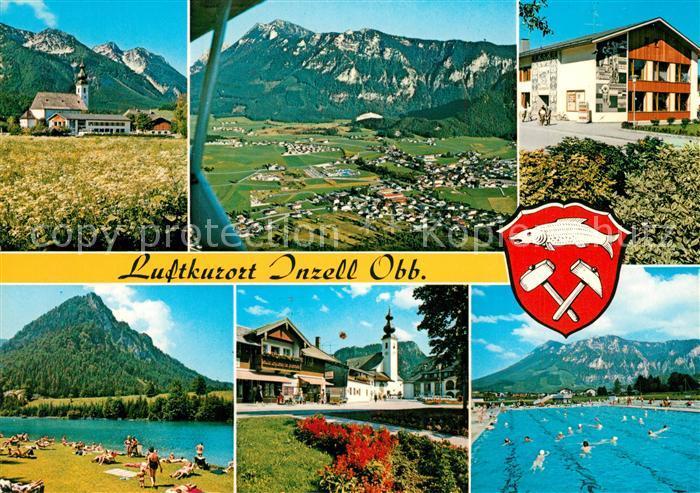 AK / Ansichtskarte Inzell Kirche Haus des Gastes Dorfplatz Schwimmbad Rauschberg Zwiesel Fliegeraufnahme Inzell
