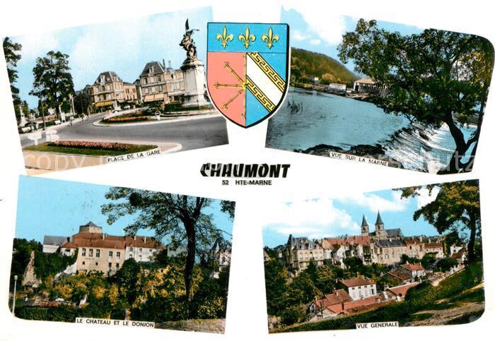 AK / Ansichtskarte Chaumont_Haute Marne Place de la Gare Vue sur la Marne Chateau le Donjon Panorama Chaumont Haute Marne