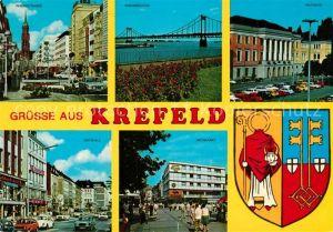 AK / Ansichtskarte Krefeld Rheinstrasse Rheinbruecke Rathaus Ostwall Neumarkt Wappen Krefeld