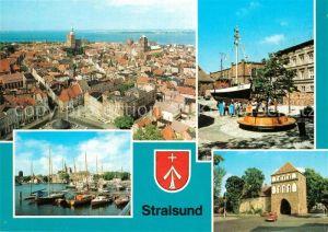 AK / Ansichtskarte Stralsund_Mecklenburg_Vorpommern Stadtpanorama Blick von St Marien Meeresmuseum Hafen Kniepertor Wappen Stralsund_Mecklenburg