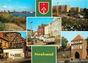 AK / Ansichtskarte Stralsund_Mecklenburg_Vorpommern Blick zum Hafen Leninplatz Friedrich Wolf Strasse Museum Kniepertor Stralsund_Mecklenburg