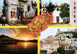AK / Ansichtskarte Ibiza Graffiti Stadtansichten Abendstimmung Ibiza