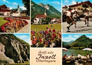 AK / Ansichtskarte Inzell Kirche Schuhplattler Dorfplatz Rauschberg Gletschergarten Zwingsee Inzell