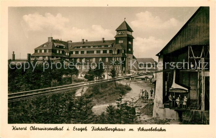 AK / Ansichtskarte Oberwiesenthal_Erzgebirge Fichtelberghaus mit Schwebebahn Oberwiesenthal Erzgebirge