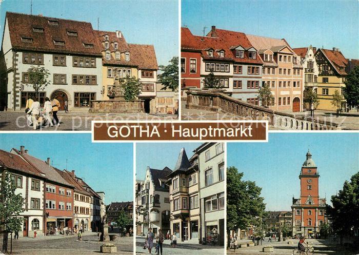 AK / Ansichtskarte Gotha_Thueringen Hauptmarkt Rathaus Altstadt Brunnen Gotha Thueringen
