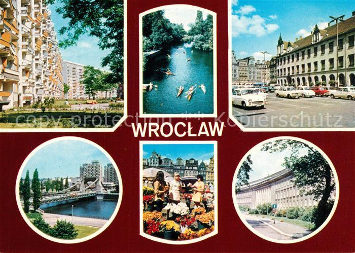 AK / Ansichtskarte Popowice_Wroclaw Siedlung Hochhaeuser Markt Oderbruecke Gebaeude