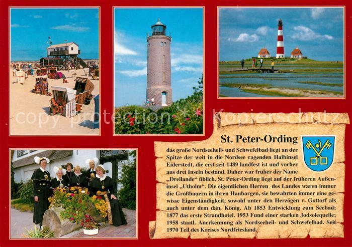 AK / Ansichtskarte St_Peter Ording Boehler Leuchtturm Westerhever Leuchtturm Eiderstedter Tracht St_Peter Ording