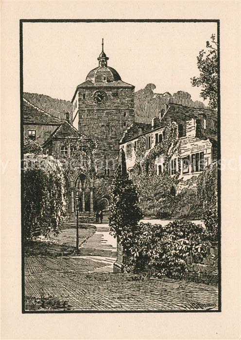 AK / Ansichtskarte Heidelberg_Neckar Schloss Brunnenhalle Wartturm nach einer Federzeichnung von H. Hoffmann Heidelberg Neckar