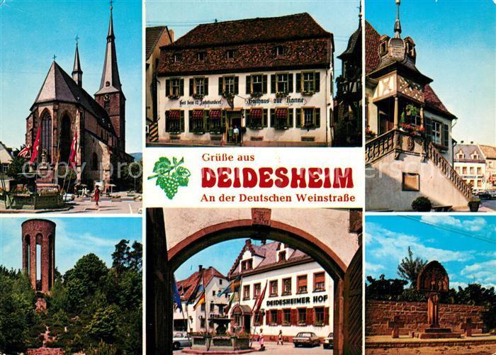 AK / Ansichtskarte Deidesheim Kirche Gasthaus Rathaus Turm Deidesheimer Hof Deidesheim 0