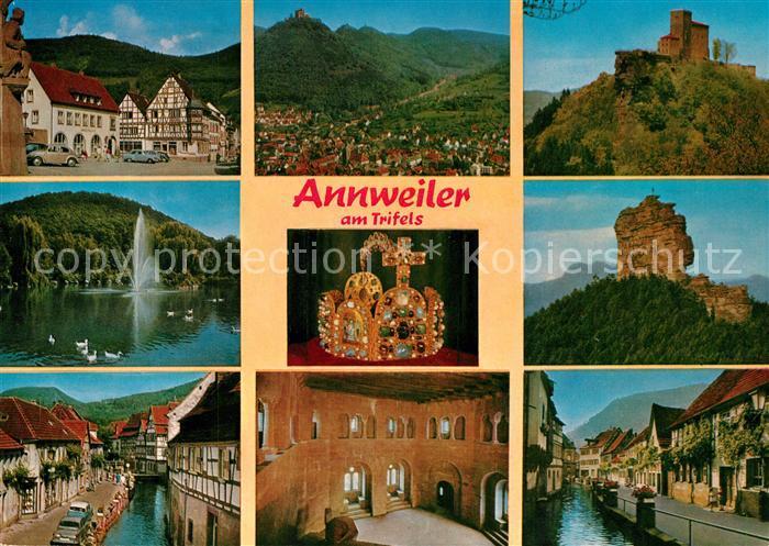 AK / Ansichtskarte Annweiler_Trifels Marktplatz Stadtblick Burg Schwanenteich Ruine Kanal Annweiler_Trifels 0