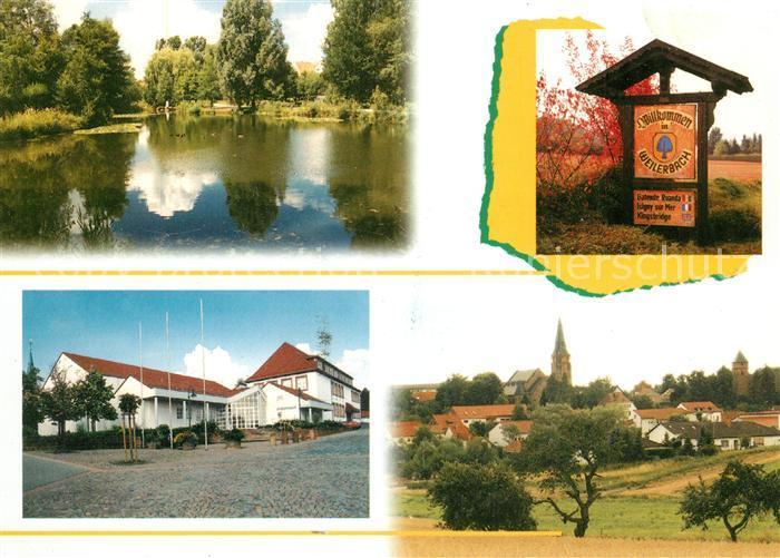AK / Ansichtskarte Weilerbach_Kaiserslautern Schwanenteich Ortsschild Buergerhaus Stadtblick Weilerbach_Kaiserslautern