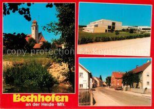 AK / Ansichtskarte Bechhofen_Mittelfranken Blick zur Kirche Schule Strassenpartie Bechhofen Mittelfranken