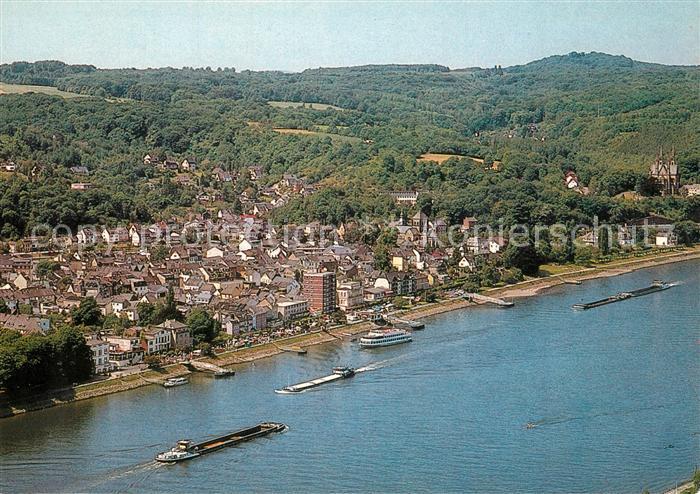 AK / Ansichtskarte Remagen Blick ueber den Rhein Binnenschifffahrt Fliegeraufnahme Remagen