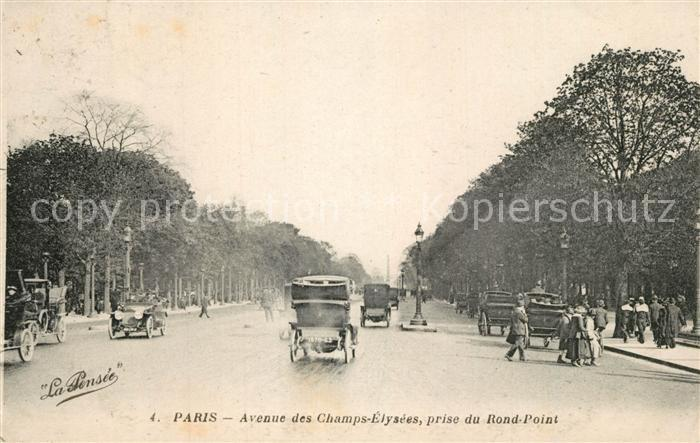 AK / Ansichtskarte Paris Avenue des Champs Elysees prise du Rond Point Autos Paris
