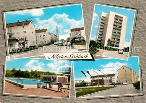 AK / Ansichtskarte Nieder Eschbach Hochhaus Schwimmbad Nieder Eschbach