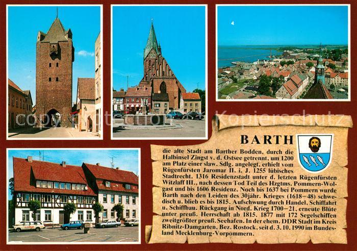 AK / Ansichtskarte Barth Dammtor Marktplatz Marienkirche Stadtansicht Chronik Barth