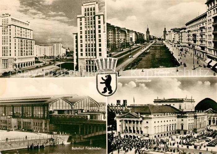 AK / Ansichtskarte Berlin Strausberger PLatz Stalinallee Bahnhof Friedrichstrasse Staatsoper Berlin
