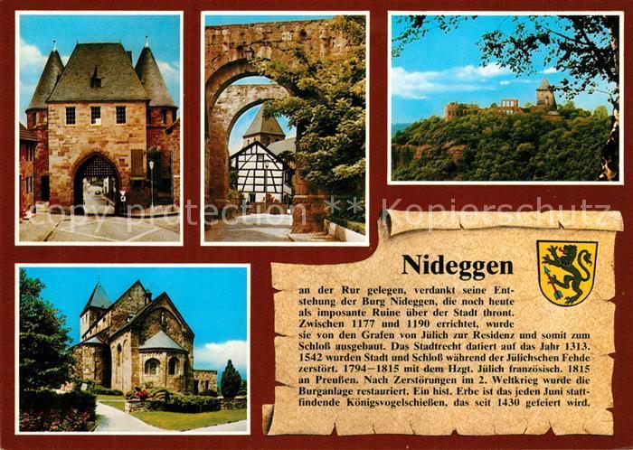 AK / Ansichtskarte Nideggen_Eifel Duerener Tor Burg Nixtor Marktplatz Chronik Nideggen Eifel