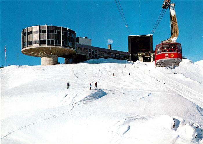 AK / Ansichtskarte Seilbahn Laax Flims Crap Sogn Gion Panorama Restaurant Berghotel Seilbahn