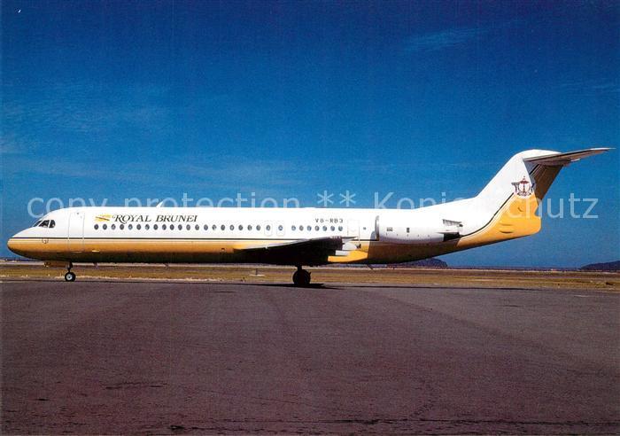 AK / Ansichtskarte Flugzeuge_Zivil Royal Brunei Fokker 100 V8 RB3 c n 11253 Flugzeuge Zivil
