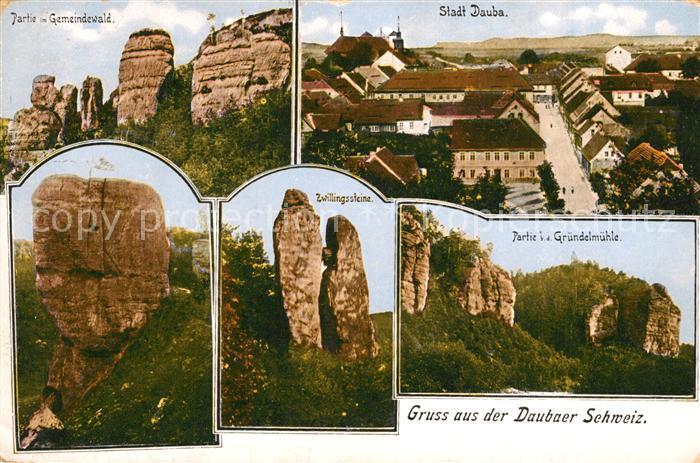 AK / Ansichtskarte Dauba_Tschechien Sandsteingebirge Gemeindewald Felsen Zwillingsteine Gruendelmuehle Dauba Tschechien